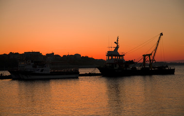 nesebar port at dusk