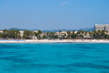 Hotels in Sa Coma suburbs and Mediterranean Sea, Majorca island