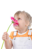 little girl sniffs a flower. poster