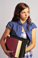 College Student Girl With Books