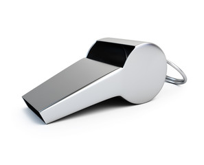 Metal whistle for sports isolated on a white background