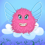 Smiling creature with wings on a cloud poster