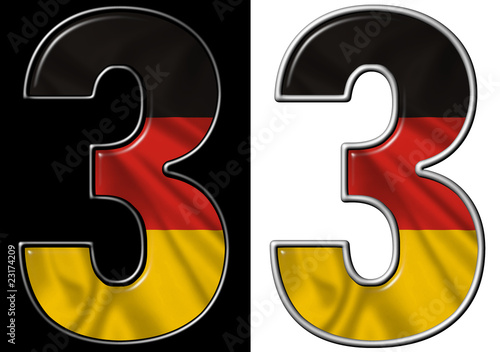 Number 3 showing German flag