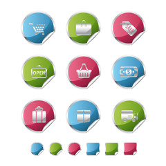 shopping metallic sticker icons