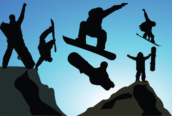 vector jumping snowboarder silhouette