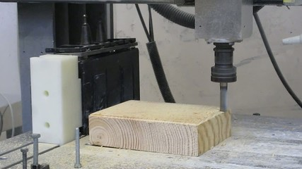 CNC machine milling wood part