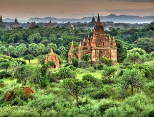 Myanmar, Bagan - Sunset aerial view nb.7