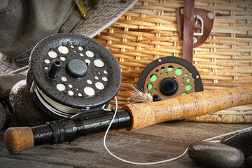 Close-up fly fishing rod with equipment