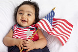 Proud Asian American Baby Celebrating Fourth of July poster