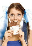 pigtails girl with chocolate isolated poster