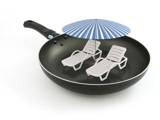 Beach in hot frying pan
