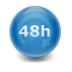 """Esfera brillante con texto """"48h"""""""