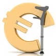 sign of euro, supported by a crutch