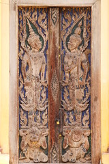 carving on door of temple, Kantarawichai, Mahasarakam