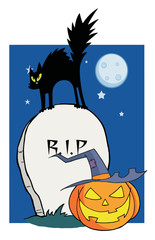 Black Cat And Jack O Lantern In A Tombstone In The Night