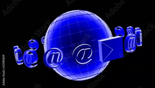 3D mail black  background