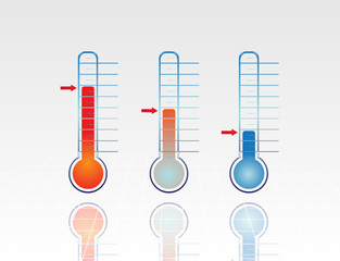 Chart with Thermometer going down