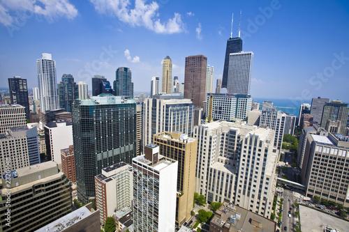Foto op Aluminium Grote meren Summer view of Chicago skyscrapers.