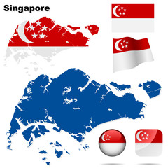 Singapore vector set. Shape, flags and icons.