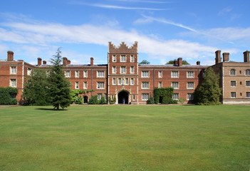 Lawn in front of the gatehouse in Jesus College