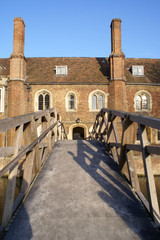 Mathematical Bridge and the Presidents Lodge in Queens' college