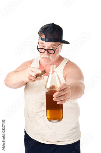 Fat Man with Cigar and Beer