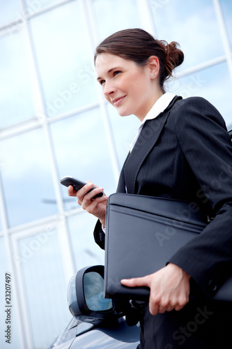 Young business lady outside