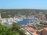 rooftop view of old port harbor Bonifacio Corsica France poster