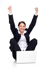 young business woman jubilating