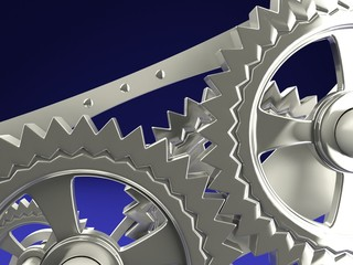 Clock gears on blue background