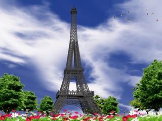 Paesaggio con Torre eiffel in 3 D