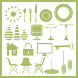 Furniture and home goods icon set