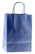 sac papier bleu, fond blanc