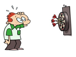 Surprised darts player looking at the triple bulls eye result