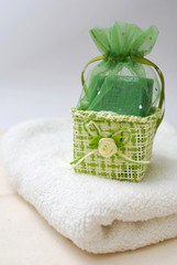 Spa soap and towel