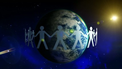 Earth in people's hands