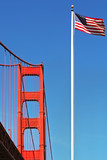 Golden Gate Bridge and American National Flag. poster
