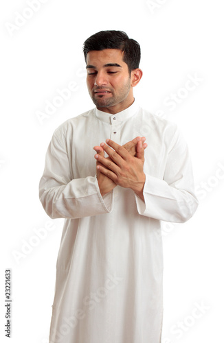 Worried stressed sad arab middle eastern man