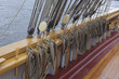 Deck, rigging and railing of a sail ship.