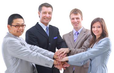 Teamwork and team spirit - Hands piled o