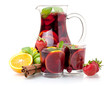 Refreshing sangria (punch) and fruits - 23226843