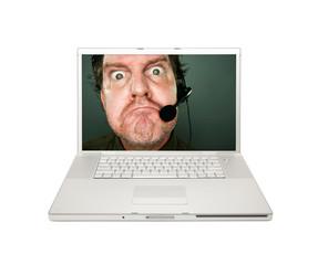 Grumpy Customer Service Man on Laptop Screen