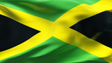 Creased Jamaican satin flag in wind with seams and wrinkle poster