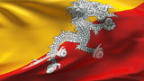 Creased Bhutan satin flag in wind with seams and wrinkle poster