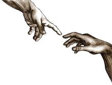 Mains de Dieu et Adam