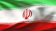 Creased Iran satin flag in wind with seams and wrinkle