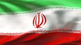 Creased Iran satin flag in wind with seams and wrinkle poster