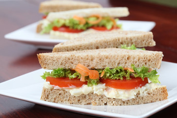 Vegetarian sandwiches with egg spread and vegetables