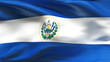 Creased El salvador satin flag in wind with seams and wrinkle