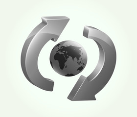 Grey recycling-refreshing symbol with Earth in its center